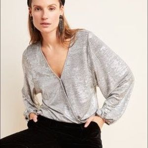 🆕Anthropologie Silver Top